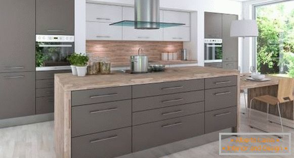 Modern kitchen design 2018 - photo with gray cabinets