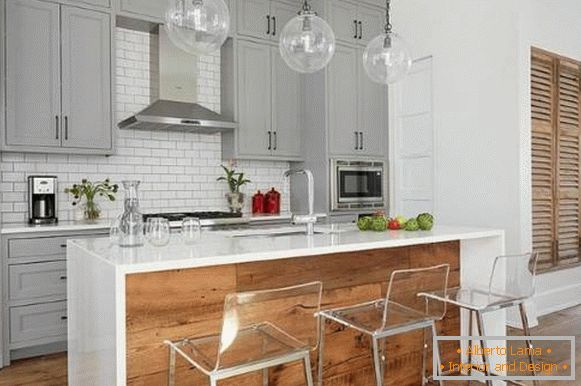 Fashionable design of the kitchen 2018 with furniture in gray