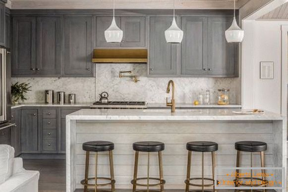 Gray-beige kitchen interior - fashion trend 2018
