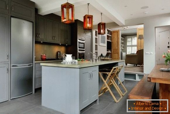 Kitchen design 2017 - photo with a fashionable island