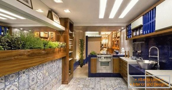 Kitchen design 2018 - greenery in the interior