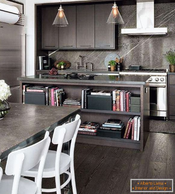 Combination of materials and textures in kitchen design