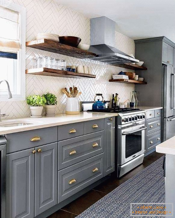 Modern ideas for the kitchen - the design of tiles and gray furniture