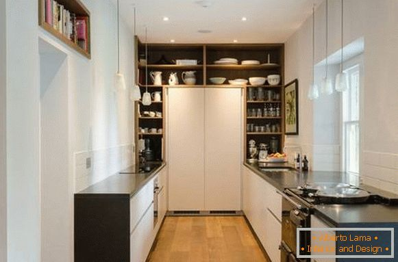 Fashionable design of the kitchen 2018 with shelves in the form of a pantry