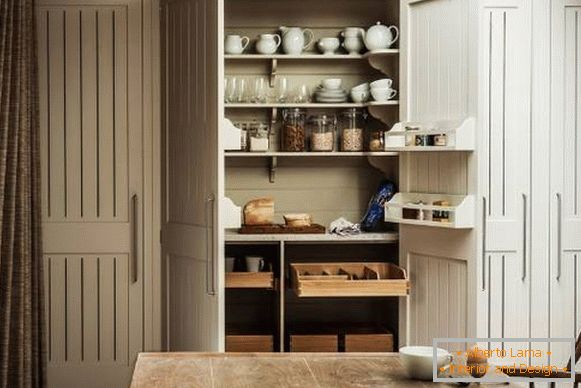 Pantry in the design of the kitchen in 2018