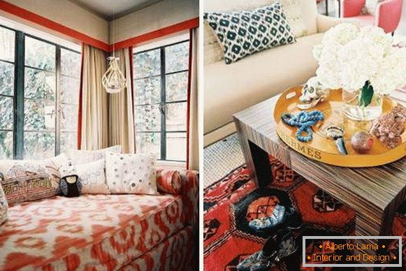Fashionable orange-red color in the interior