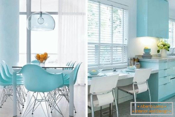 Blue interior in fashionable color 2017