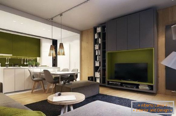 Light green color in the interior of the living room - trend 2017