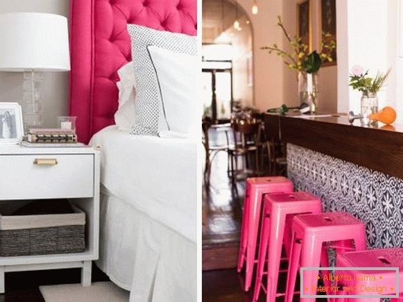 Fashionable pink color in the interior - photo