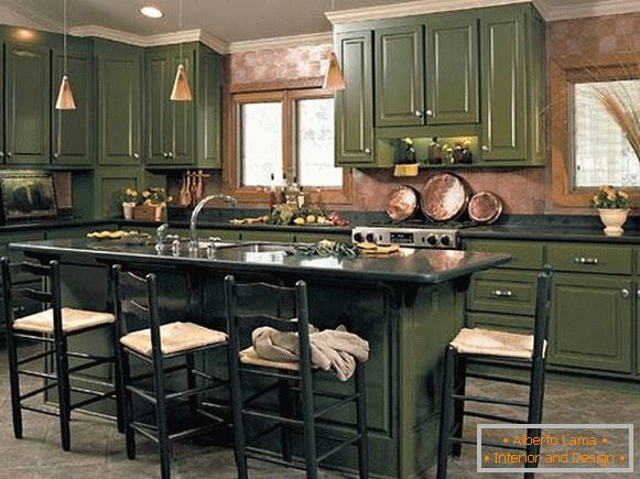 What color is fashionable in 2017 - photo dark green kitchen