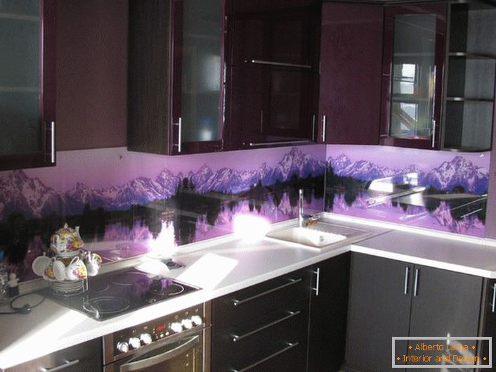 Purple colors of the room