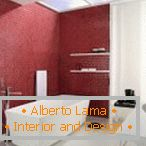 Red wall in white bathroom interior