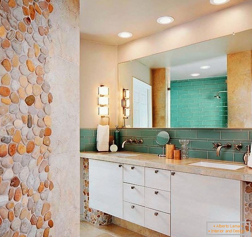Mosaic from a stone in an interior of a bathroom