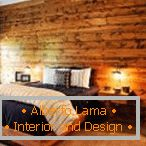 Wooden wall in the bedroom