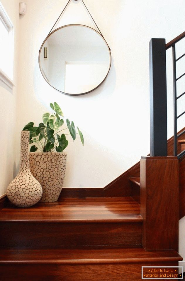 Vases on the stairs in the house