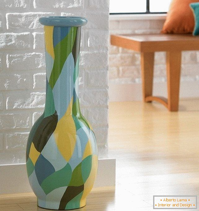Glass vase of various colors