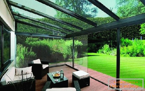 Types of awnings from polycarbonate in a private house, фото 10