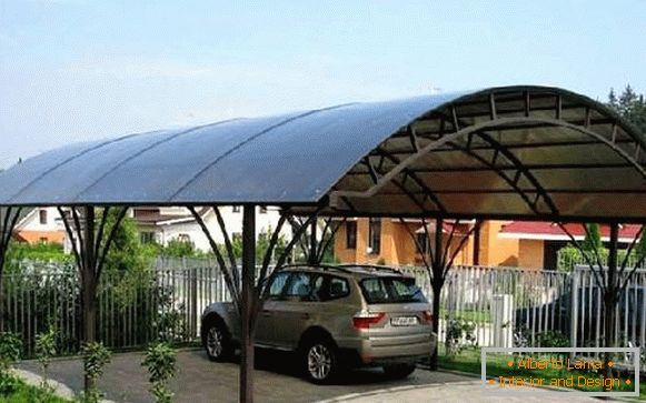 Canopies made of polycarbonate over the porch of a private house, фото 14