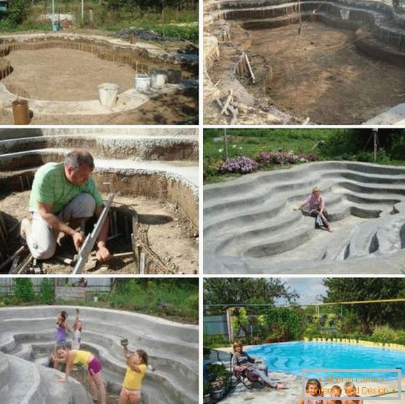 Beautiful homemade pools in the courtyard of the house - photo