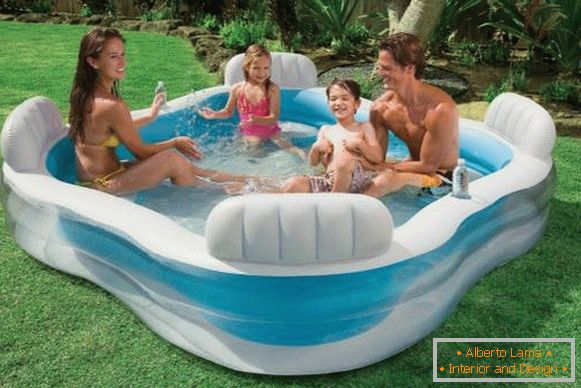 Adult and children's inflatable pool - photo in summer