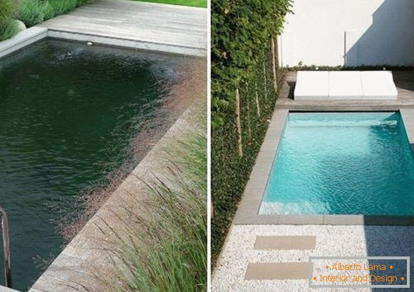 Concrete pools and landscaping in the photo