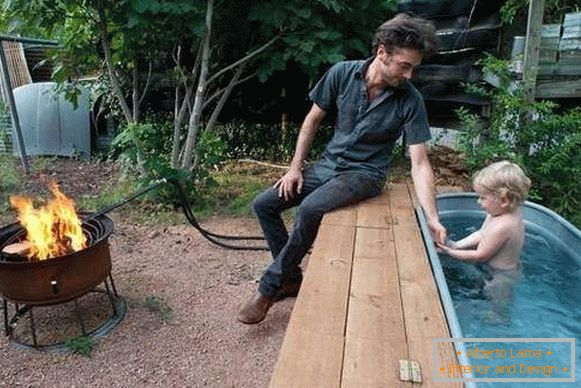 Homemade metal pool in the country with their own hands photo