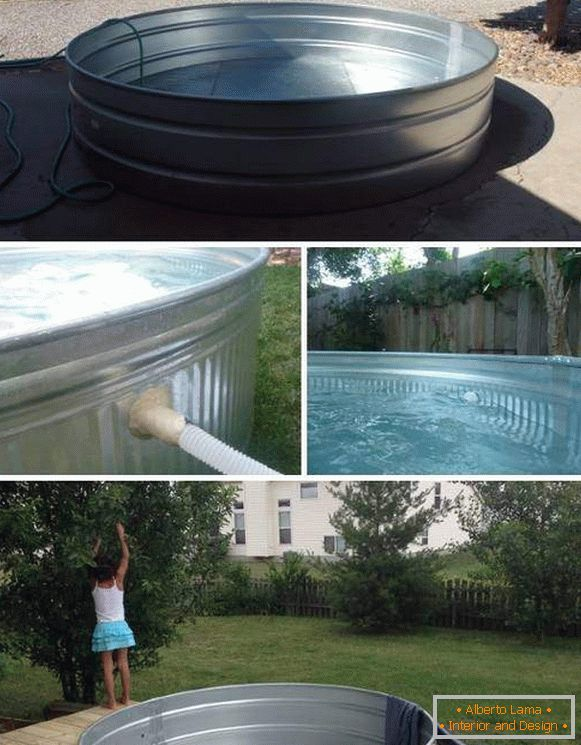 Inexpensive pool with your own hands from improvised materials - photo capacitance