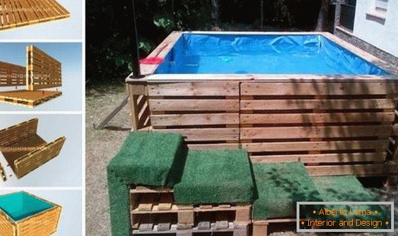 Photo of pools in the yard - a makeshift pool of pallets