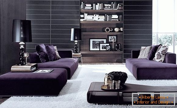 Living room in violet-white design