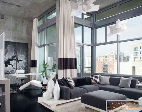 Living room in gray tones