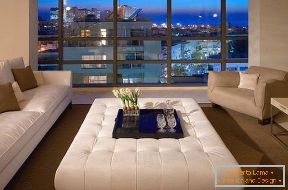 Soft coffee table by the window