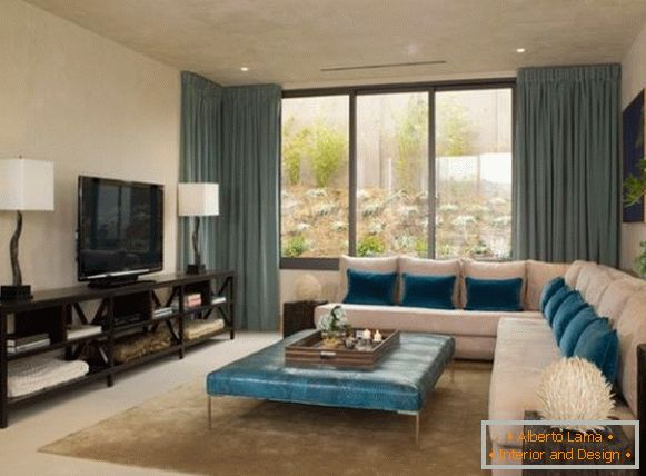 Accents of color aquamarine in a bright living room