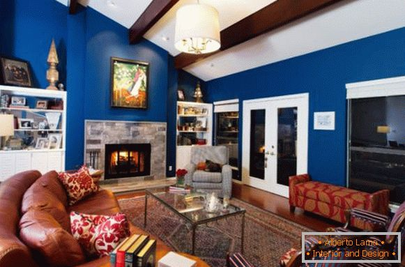 Contrast colors in the design of the living room