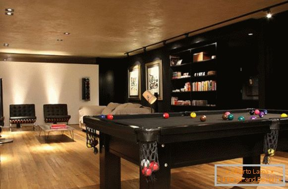 Billiard table in the living room