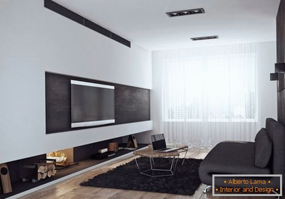 Stylish living room in black and white colors
