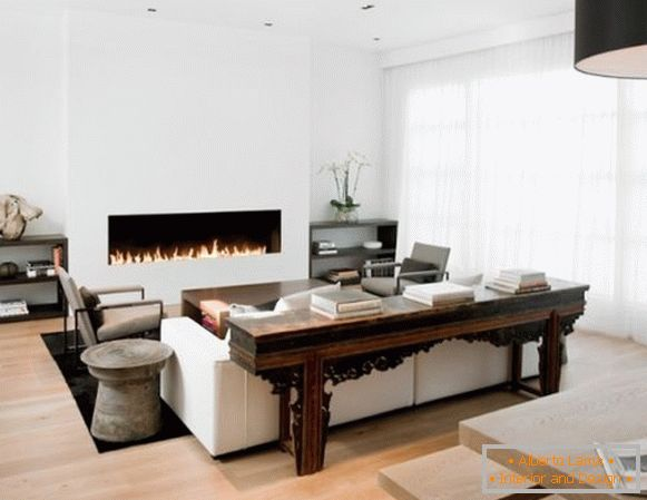 Fireplace in the white living room