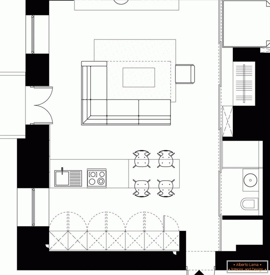 The layout of a stylish studio apartment in Kiev