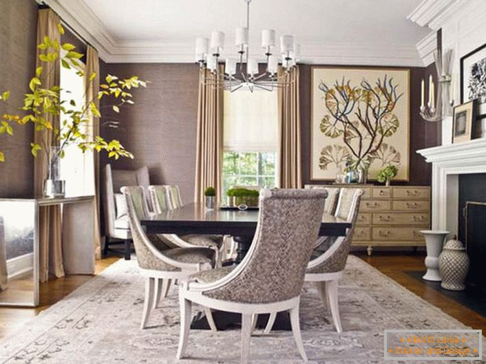 Living room in neoclassic style. The interior elegantly combines simplicity, modesty and elegance.