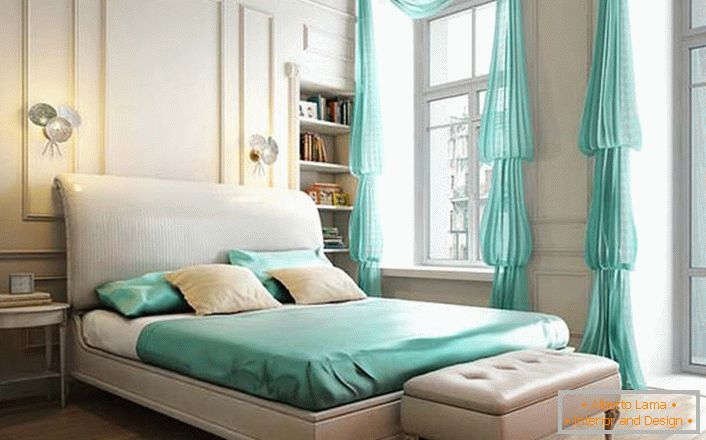 Modest interior of the bedroom in the neoclassic style is interesting accents of mint color.