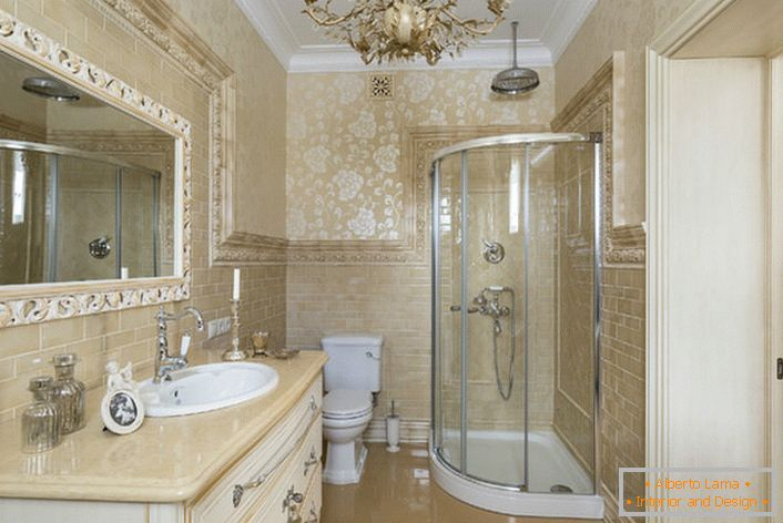 Stylish bathroom. The interior style of the neoclassic looks great in a spacious and functional room.