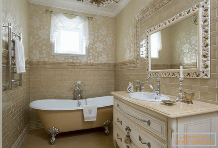 A neoclassic-style bathroom in the country house of a Spanish family.