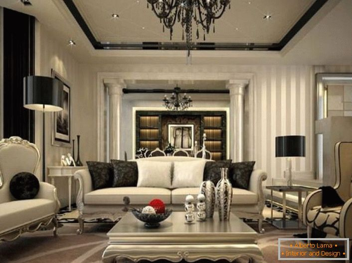 Exquisite interior for the living room is thought out in neoclassic style. Black elements of decoration and decoration are conspicuous against the background of faded gray shades.