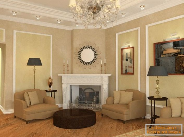Guest room in neoclassic style in a large country house of a successful French businessman.
