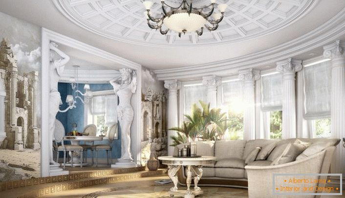 A spacious neoclassic style living room with properly selected furniture. Unobtrusive classics in modern performance.