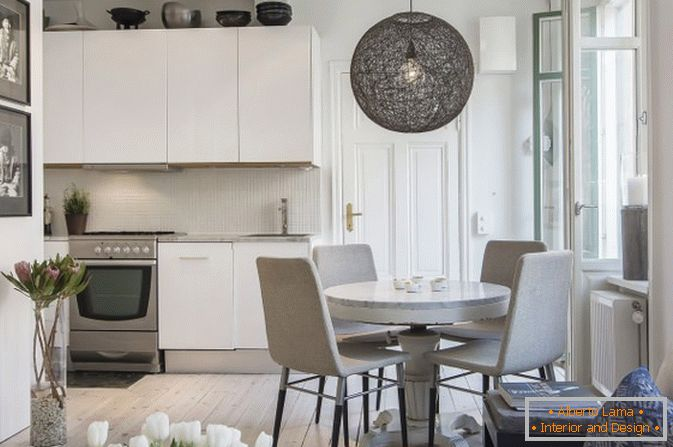 Dining room apartments-studios in Scandinavian style