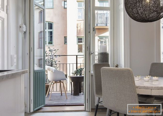 Balcony apartment-studio in Scandinavian style