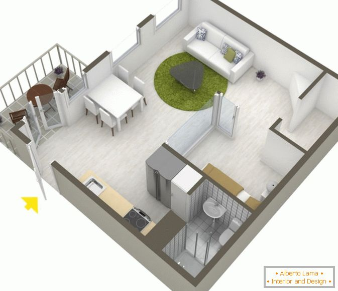 Planning of studio apartment in Scandinavian style