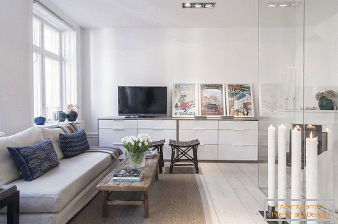 The living room of studio apartment in Scandinavian style