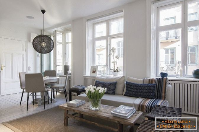 Interior of studio apartment in Scandinavian style