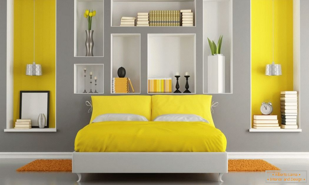 Yellow accents in the gray interior